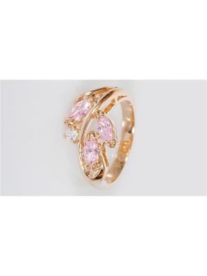Кольцо фианит розовый 3 рис циркон Lotus Jewelry. Цвет: розовый