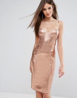 Rare Блестящее платье миди с декольте и высоким воротом London. Цвет: золотой