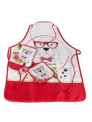 Набор кухонного текстиля Русские подарки. Цвет: красный, белый