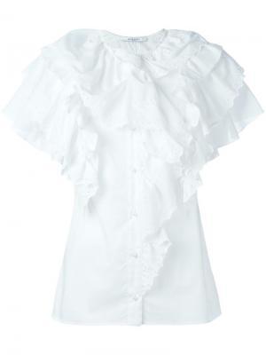 Топ с оборками Givenchy. Цвет: белый