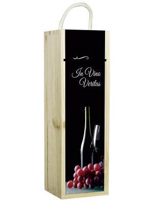 Подарочная коробка для вина In vino Veritas Contento. Цвет: черный, светло-коричневый