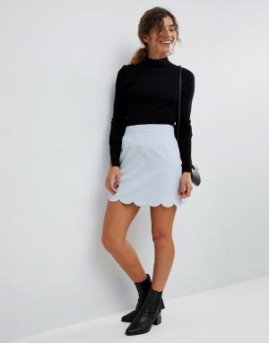 ASOS Мини юбка‑трапеция с фигурным краем Tailored. Цвет: серый