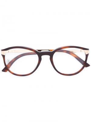 Солнцезащитные очки Santos De Cartier. Цвет: коричневый