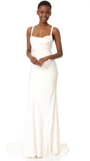 Вечернее платье-футляр Monique Lhuillier. Цвет: белый шелк