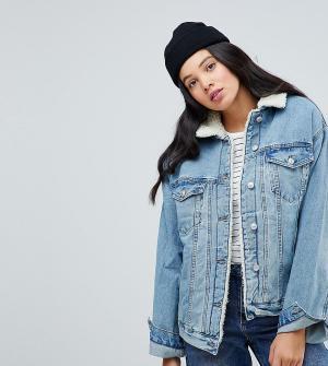 ASOS Tall Синяя выбеленная джинсовая куртка с искусственным мехом. Цвет: синий