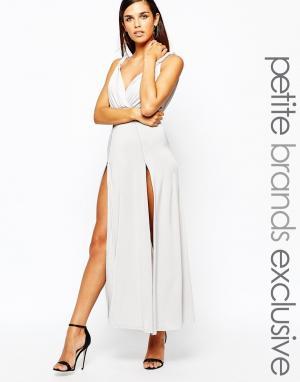 Lipstick Boutique Petite Платье макси в греческом стиле. Цвет: серый