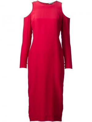 Платье с открытыми плечами Piamita. Цвет: красный