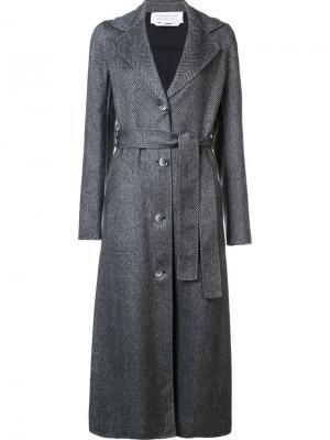 Длинное пальто с поясом Gabriela Hearst. Цвет: серый