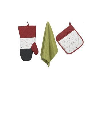 Набор кухонных принадлежностей с неопреном : рукавица, прихватка, полотенце ТекСтиль для дома. Цвет: бордовый, зеленый