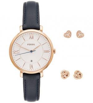 Часы с золотистыми серьгами в комплекте Fossil ES 4140SET