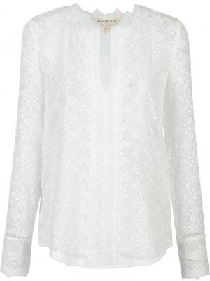 Шелковая блузка с вышивкой Rebecca Taylor. Цвет: белый