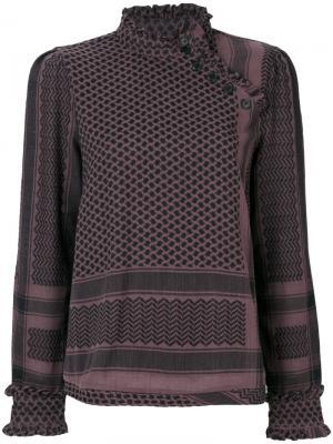 Рубашка с рисунком и смещенной застежкой Cecilie Copenhagen. Цвет: розовый и фиолетовый