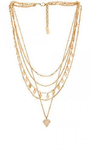 Ярусное ожерелье с подвесами лунным камнем Luv AJ. Цвет: металлический золотой