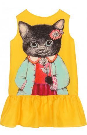 Шелковое мини-платье с принтом Gucci. Цвет: желтый