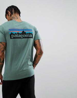 Patagonia Зеленая выбеленная футболка узкого кроя из органического хлопка с лого. Цвет: зеленый
