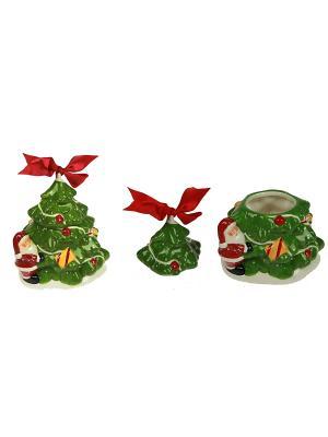 Шкатулка Дед Мороз у ёлочки Русские подарки. Цвет: зеленый, красный, белый