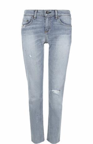 Укороченные джинсы-скинни с потертостями Rag&Bone. Цвет: голубой