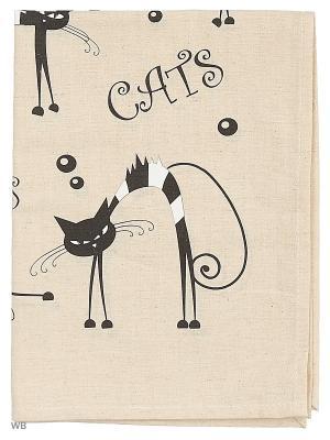 Полотенца Кошки черные, 2 шт., с петелькой GrandStyle. Цвет: серый, черный