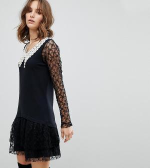 Anna Sui Эксклюзивное кружевное платье. Цвет: черный