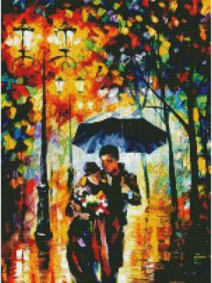 Алмазная мозаика Вдвоем под зонтом Цветной. Цвет: белый