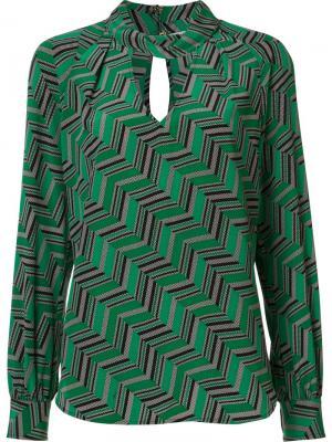 Блузка с геометрическим узором Trina Turk. Цвет: зелёный
