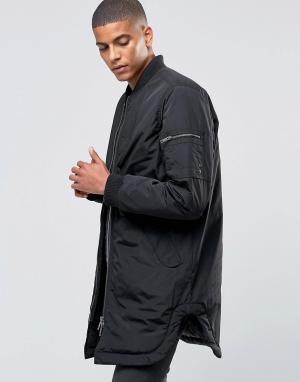 ADPT Легкая длинная куртка-пилот. Цвет: черный