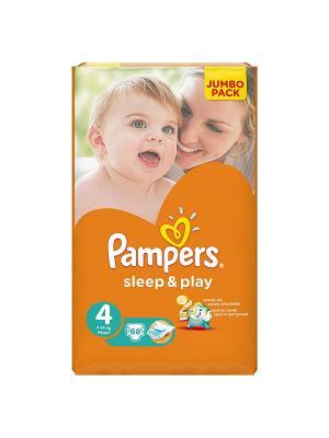 Подгузники Sleep & Play 8-14 кг, 4 размер, 68 шт. Pampers. Цвет: оранжевый