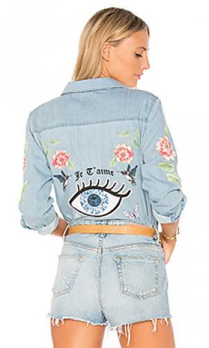 Розовая джинсовая рубашка sloane love you forever Lauren Moshi. Цвет: none