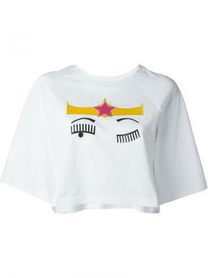 Укороченная футболка Flirting Chiara Ferragni. Цвет: белый