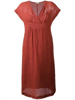 Платье миди с V-образным вырезом Masscob. Цвет: жёлтый и оранжевый