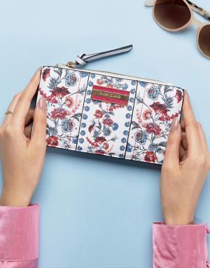 River Island Узкий кошелек с цветочным принтом. Цвет: мульти