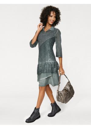 Платье, 2 части Linea Tesini. Цвет: темно-зеленый