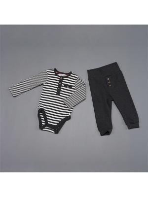 Комплект нательный для малыша BABALUNO. Цвет: темно-серый, кремовый