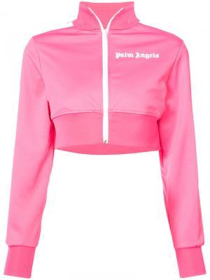 Укороченная спортивная куртка Palm Angels. Цвет: розовый и фиолетовый