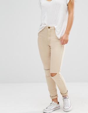 Boohoo Petite Рваные джинсы скинни. Цвет: бежевый