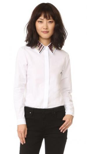 Рубашка с длинными рукавами и вышивкой на воротнике Holly Fulton. Цвет: мульти/белый