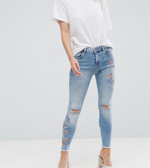 New Look Petite Зауженные джинсы с вышивкой. Цвет: синий