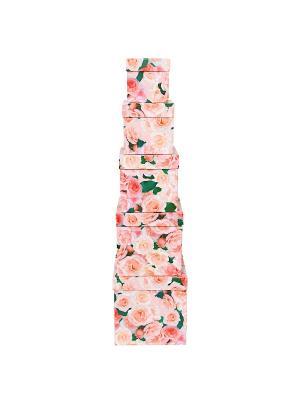Коробка картонная,  набор из 5 шт. 9х9х9 - 17х17х17 см. Нежные розы VELD-CO. Цвет: зеленый, розовый
