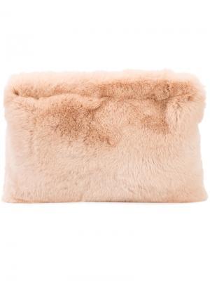 Клатч с отделкой из кроличьего меха Ryan Roche. Цвет: розовый и фиолетовый