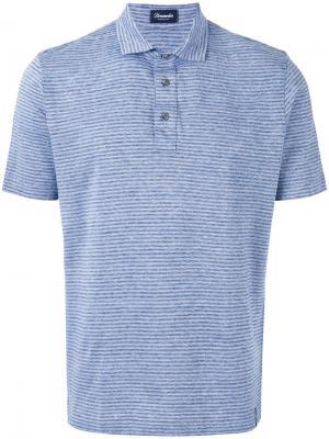 Полосатая рубашка-поло Drumohr. Цвет: синий