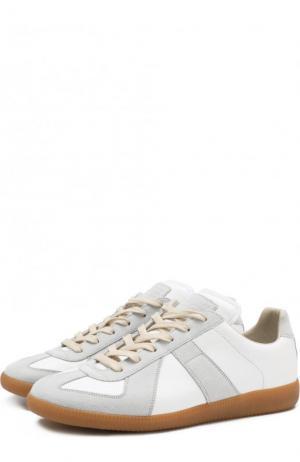 Кожаные кеды Replica на шнуровке Maison Margiela. Цвет: белый