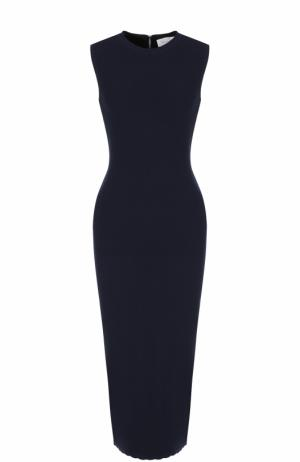 Шерстяное платье-футляр без рукавов Victoria Beckham. Цвет: темно-синий
