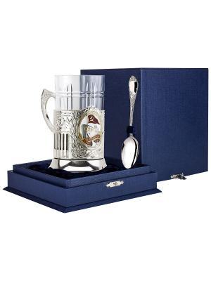 Набор для чая Морфлот (подстаканник посеребренный+хрустальный стакан+серебряная ложка)+футляр АргентА. Цвет: серебристый, золотистый