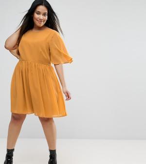 ASOS Curve Платье мини с мягкими рукавами-кейп. Цвет: желтый