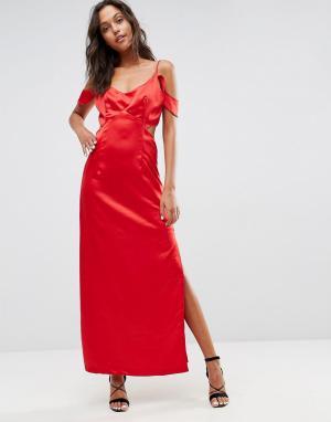 WYLDR Атласное платье с открытыми плечами, оборкой и вырезом на талии. Цвет: красный