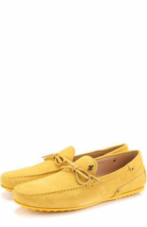Замшевые мокасины на шнуровке Tod's. Цвет: желтый