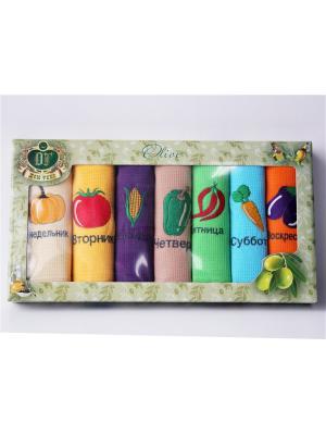 Подарочный набор из 7 вафельных полотенец овощи неделька. Домтекс. Цвет: темно-фиолетовый