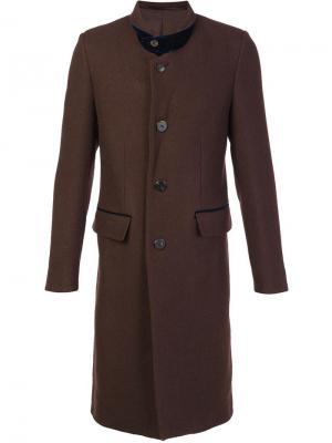 Пальто миди с заостренными лацканами Umit Benan. Цвет: коричневый
