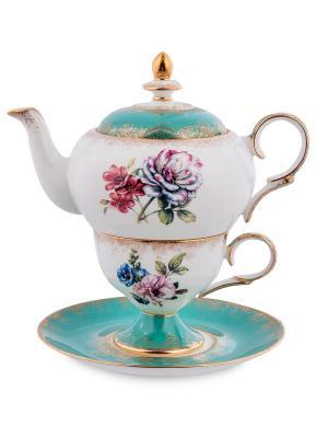 Чайный набор Соло Неаполя Pavone. Цвет: белый, бирюзовый