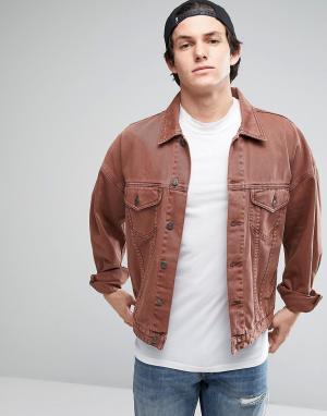 ASOS Свободная джинсовая куртка винтажного розового цвета. Цвет: розовый
